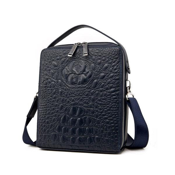 whatna ショルダーバッグ メンズ ポシェット縦型 手提げ・ショルダーの2WAY 8枚カード収納 2室式で大容量 メッセンジャーバッグ 小さめ ビジネス 通学 通勤鞄 黒 ブラウン ブルー(8802)元の画像