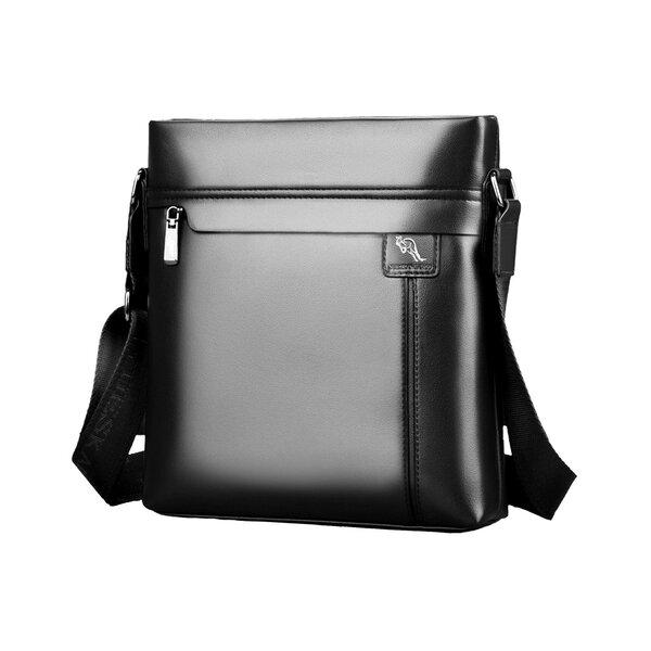 Whatna 2way 革 ショルダーバッグ メンズ ポシェット縦型iPad 収納可 人気型 耐久性 革 レザー 縦型 ビジネスバッグ メッセンジャーバッグ 斜め掛け 黒 ブラック ブラウン 全2色(HA-028)元の画像