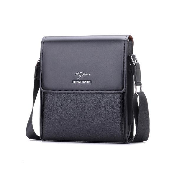 Whatna 2way 革 ショルダーバッグ メンズ ポシェット縦型iPad 収納可 人気型 耐久性 革 レザー 縦型 ビジネスバッグ メッセンジャーバッグ 斜め掛け 黒 ブラック ブラウン 全2色(HA-012)元の画像
