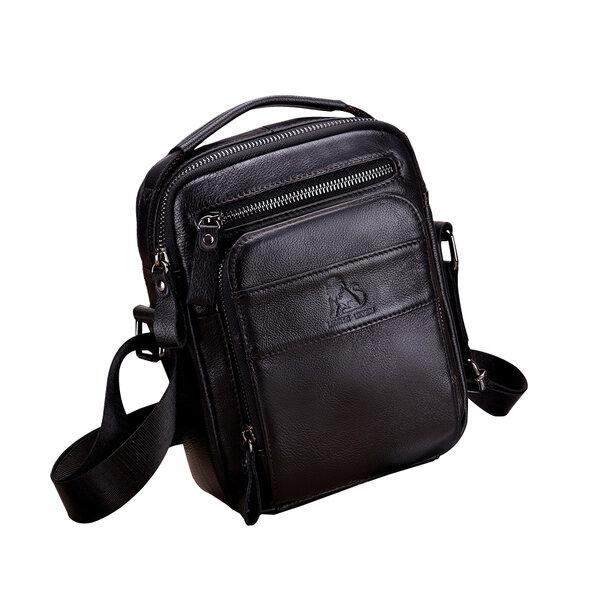 Whatna 2way 牛革 ミニショルダーバッグ メンズ ポシェット 人気型 耐久性 本革 本皮 レザー 縦型 ビジネスバッグ メッセンジャーバッグ 斜め掛け iPad 収納約23*9*17cm黒 ブラック ブラウン全2色(91308)元の画像