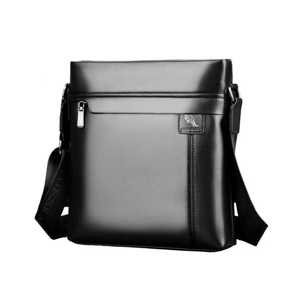 Whatna 2way 革 ショルダーバッグ メンズ ポシェット縦型 iPad 収納可 人気型 耐久性 革 レザー 縦型 ビジネスバッグ メッセンジャーバッグ 斜め掛け 黒 ブラック ブラウン 全2色(HA-28)元の画像