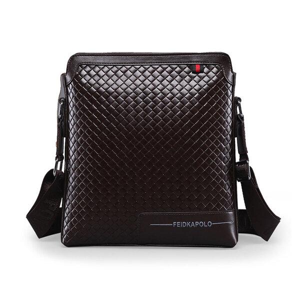 Whatna 牛革 ショルダーバッグ メンズ メッセンジャーバッグ 縦型 小さめビジネスバッグ ipad 10.5収納可 通勤 斜めがけバッグ オシャレ な シンプル な 軽量 実用 hs-1388(9921)元の画像